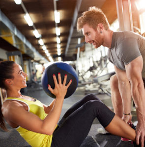 Fitness training inside in gym