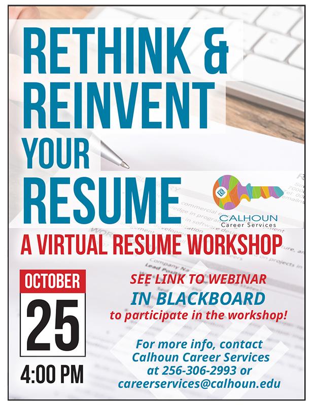 Rethink Reinvent Your Resume Calhoun Community College
