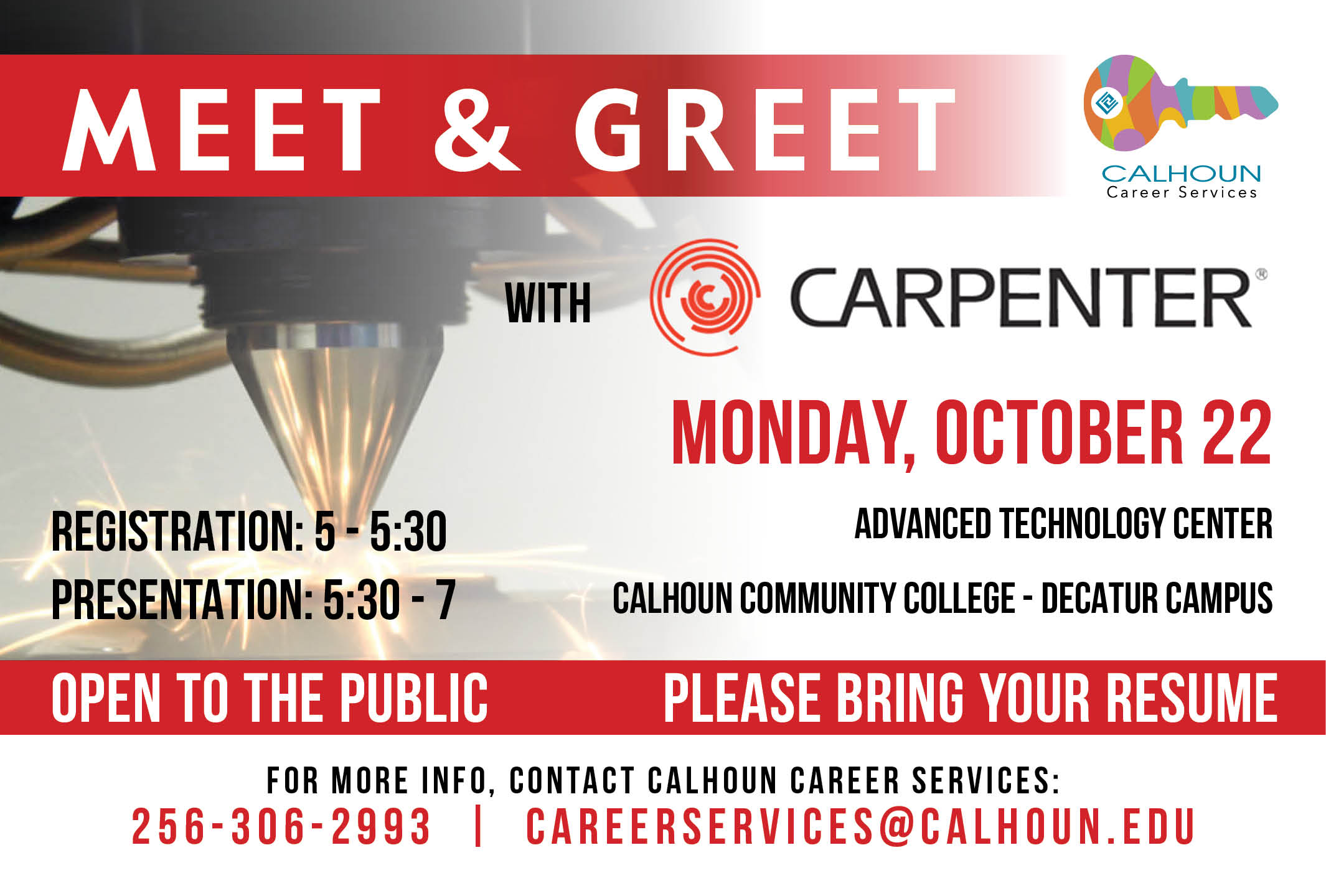 Calhoun community college to host carpenter technology meet and meet and greet with carpenter monday october 22 from 530 7 m4hsunfo