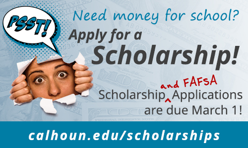 Pssst….Need money for school? Apply for a scholarship! Applications are due March 1. Click here to apply today!