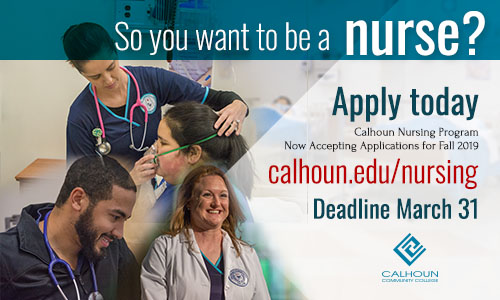 Nursing applications are now open! Accepting applications for BOTH Huntsville and Decatur campuses for Fall 2019 semester.