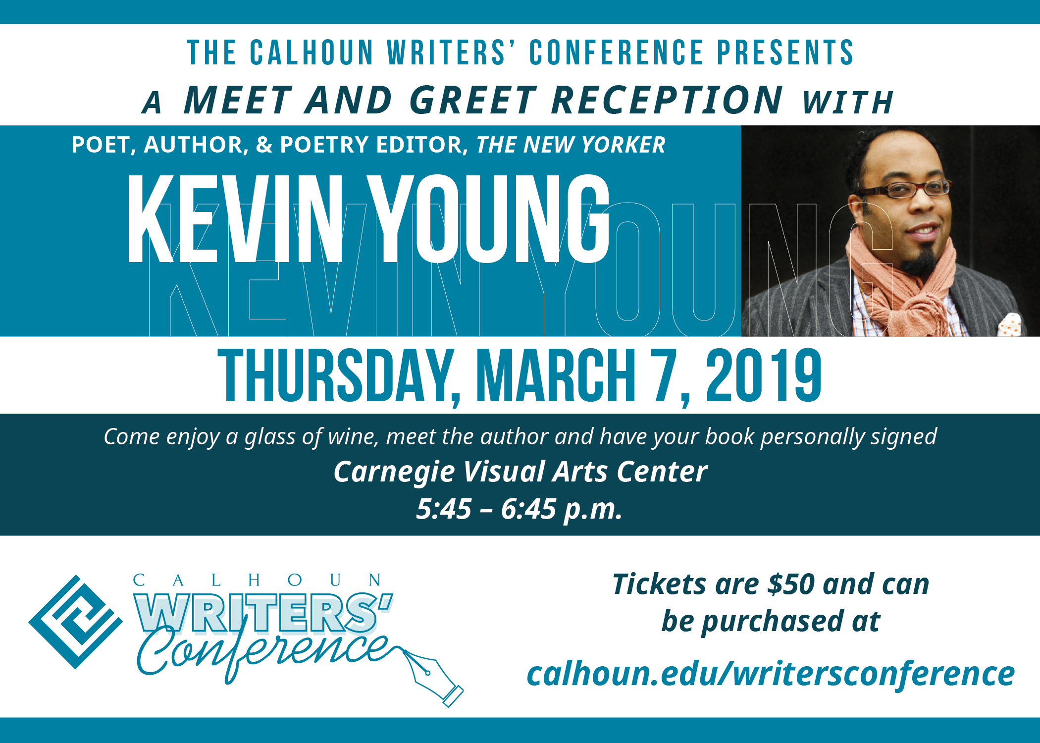 Before gathering to hear the author speak at 7:00 p.m., you are invited to a delightful ticketed Meet and Greet at the stunning Carnegie Visual Arts Center in Decatur, AL.  Come enjoy a glass of wine, meet the author and have your book personally signed by Mr. Young from 5:45 – 6:45 p.m. in this extraordinary venue. A portion of the proceeds from this event will benefit the Wendy Williams Endowed Scholarship at the Calhoun College Foundation.