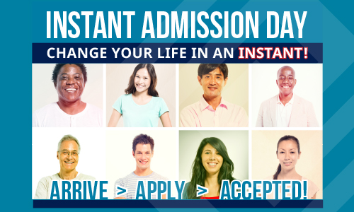 Instant Admission Day Arrive > Apply > Accepted