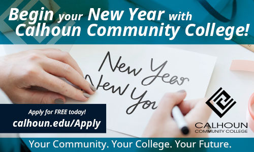 Begin your new year with Calhoun Cpommunity College. New Year New you! Apply for free today at calhoun.edu/apply. Calhoun community college logo.