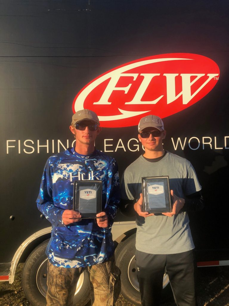 Calhoun's bass fishing team members Michael Childers of Union Grove, AL and Landon Nelson of Falkville, AL