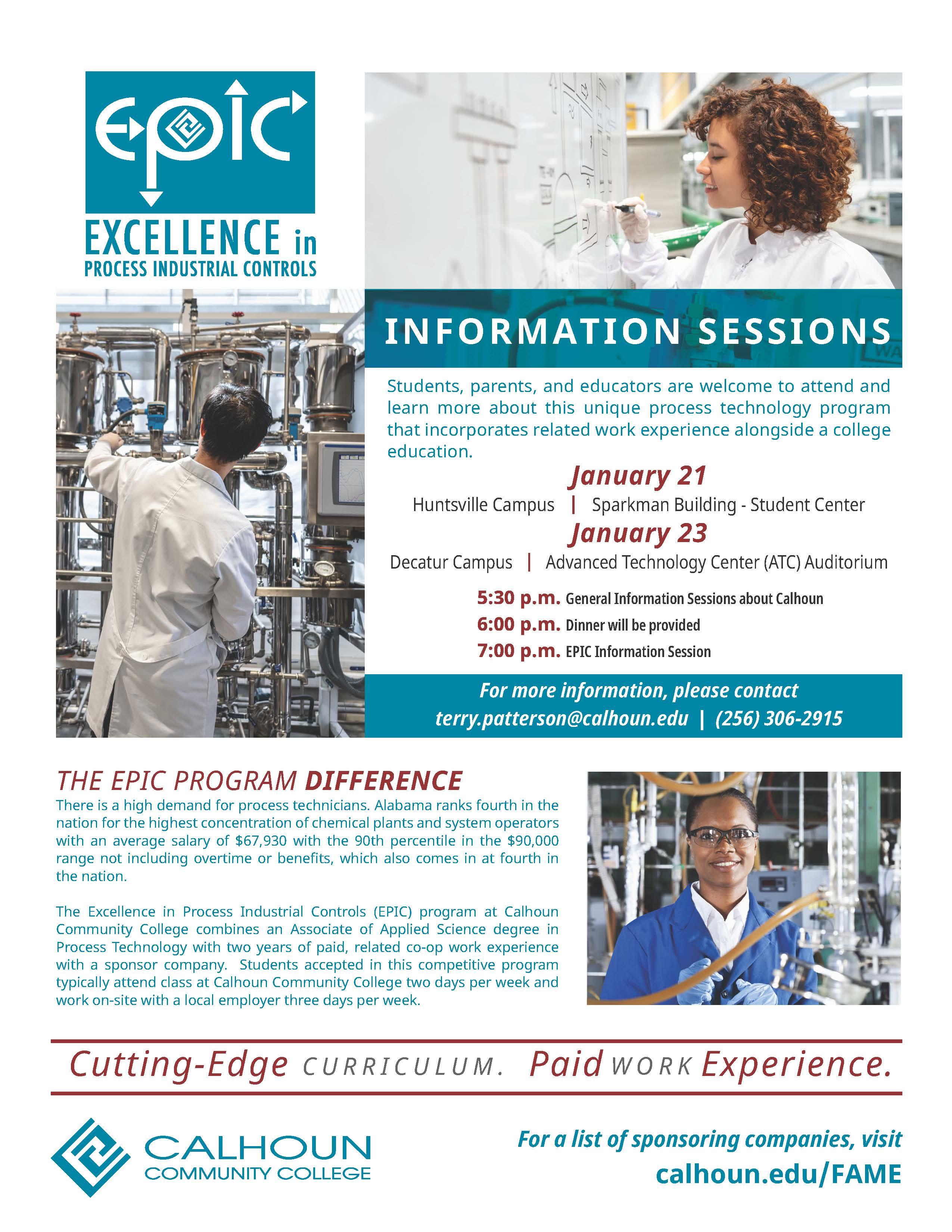 EPIC Info sessions January 2020 flyer