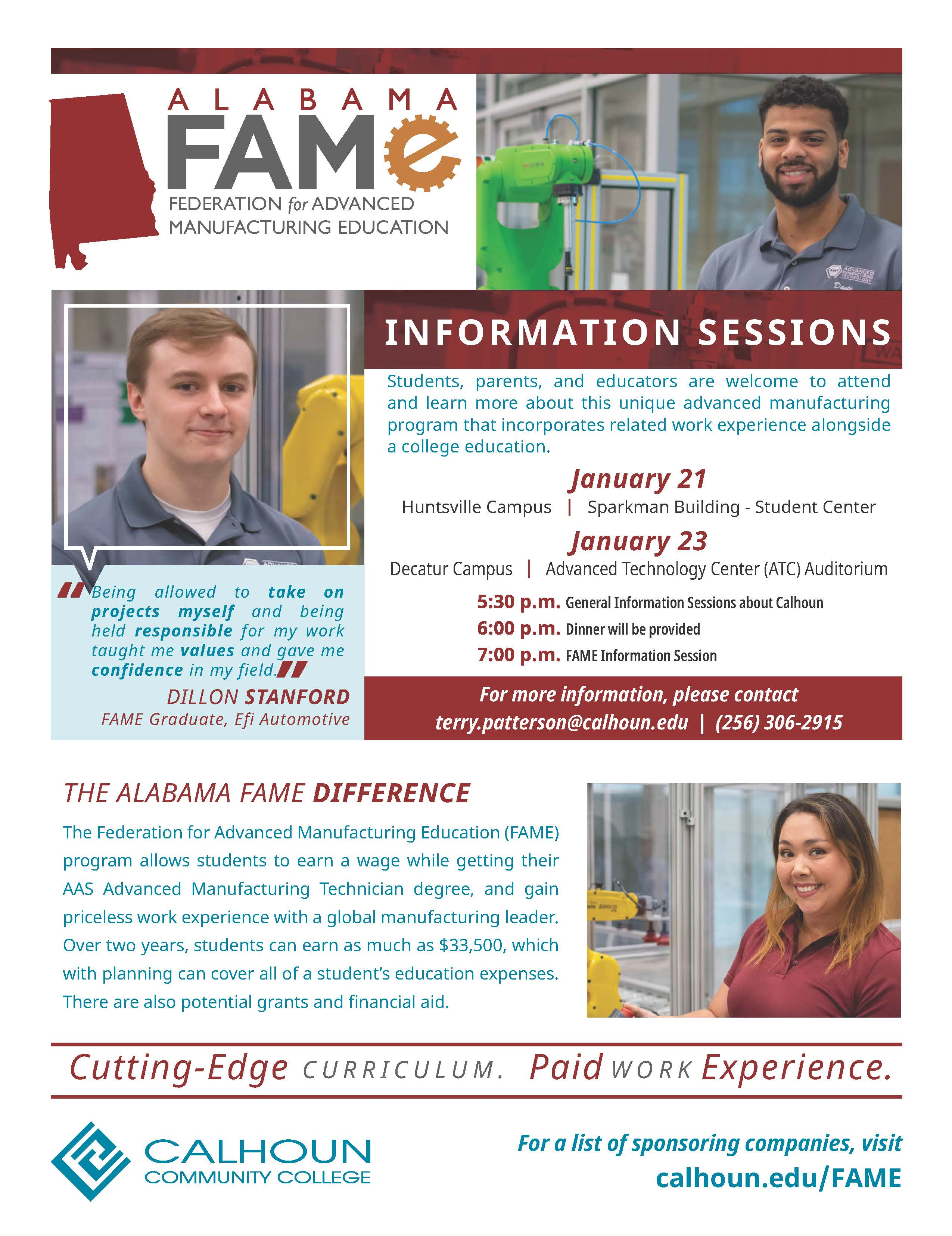 FAME january 2020 info sessions flyer