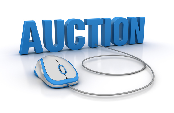 AUCTION Word with Computer Mouse on White Background