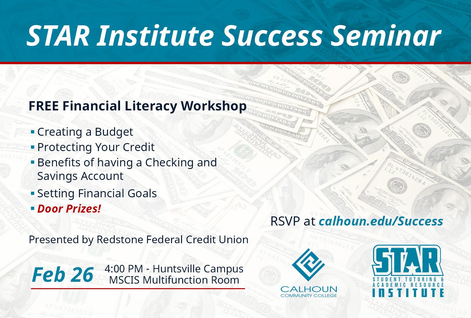 feb 26 financial literacy workshop graphic