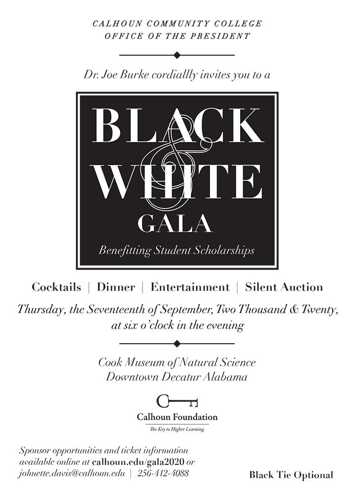black and white gala invitation
