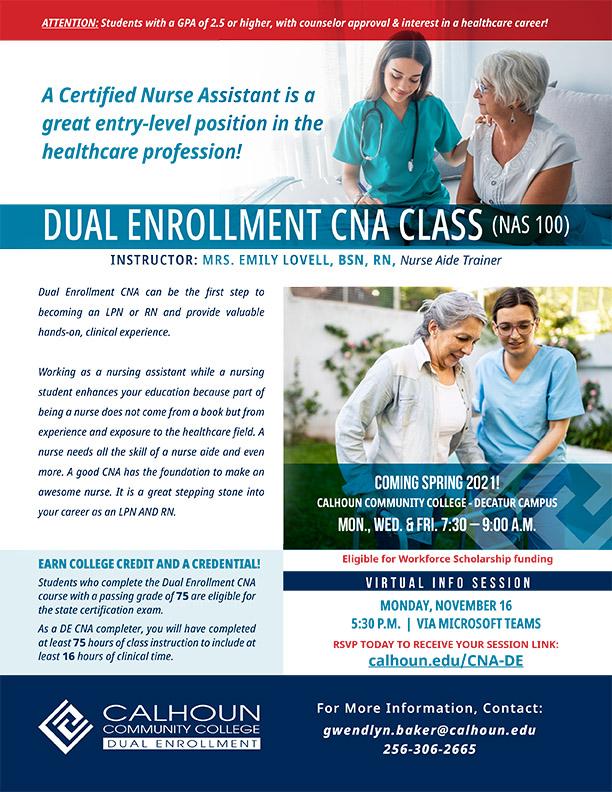 Dual Enrollment CNA Info Session – Calhoun Community College